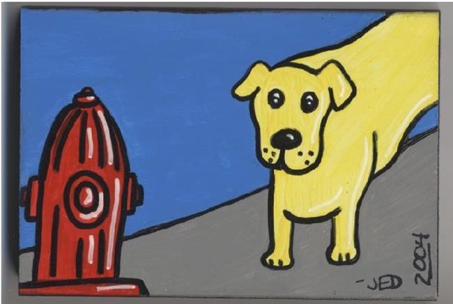 Art: Mini: Yellow Dog's Temptation by Artist Jenny Doss