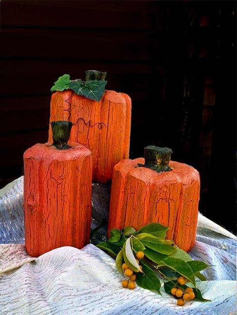 Art: Wood Carved Pumpkins by Artist Alma Lee