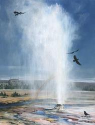Art: Beehive Geyser with ravens by Artist Lynn Bickerton Chan