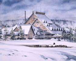 Art: Old Faithful Inn with Bison by Artist Lynn Bickerton Chan