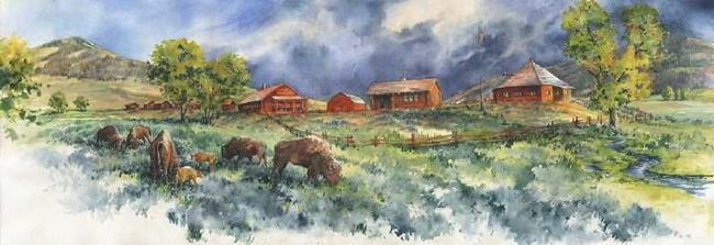 Art: Lamar Buffalo Ranch by Artist Lynn Bickerton Chan