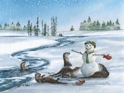 Art: Otters and Snowman by Artist Lynn Bickerton Chan