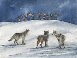 Art: Wolves Watching by Artist Lynn Bickerton Chan