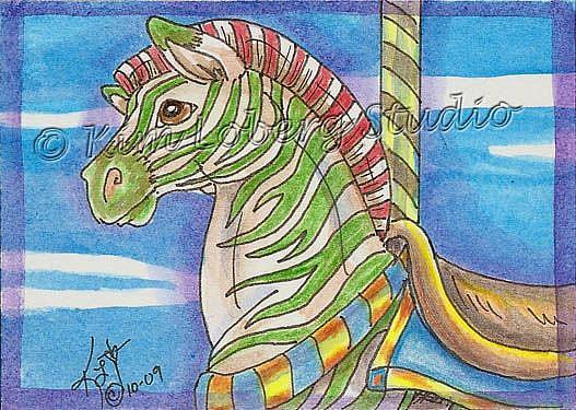 Art: Candy Cane Carousel Zebra by Artist Kim Loberg