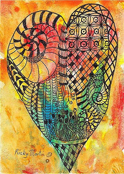 Art: Zentangle Inspired Heart by Artist Ulrike 'Ricky' Martin