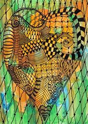 Art: Zentangle Inspired Valentine's Heart by Artist Ulrike 'Ricky' Martin