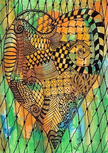 Art: Zentangle Inspired Valentine's Heart by Artist Ulrike 'Ricky' Martin