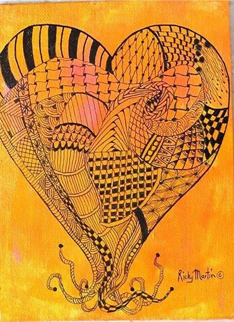 Art: Zentangle Inspired Heart # 7 by Artist Ulrike 'Ricky' Martin