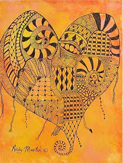 Art: Zentangle Inspired Heart # 6 by Artist Ulrike 'Ricky' Martin