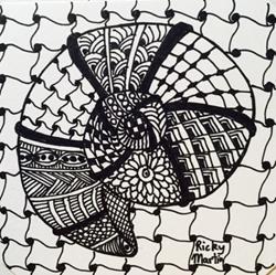 Art: Zentangle Inspired Ammonite by Artist Ulrike 'Ricky' Martin