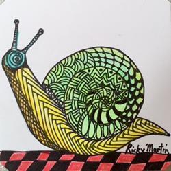 Art: Snail - Zentangle Inspired by Artist Ulrike 'Ricky' Martin