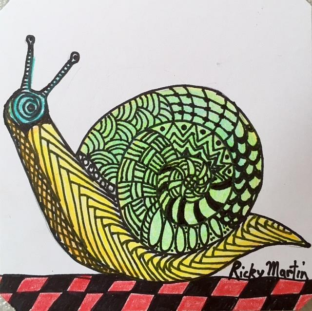 Art: Snail - Zentangle Inspired by Artist Ulrike 'Ricky' Martin