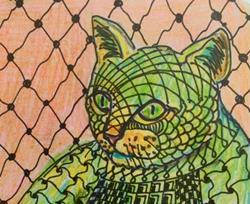 Art: Cat - Zentangle Inspired Art by Artist Ulrike 'Ricky' Martin