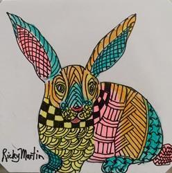 Art: Bunny Rabbit - Zentangle Inspired Art by Artist Ulrike 'Ricky' Martin