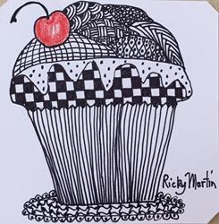 Art: Cupcake - Zentangle Inspired Art by Artist Ulrike 'Ricky' Martin