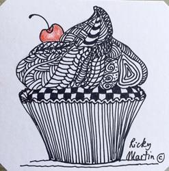 Art: Cupcake - Zentangle Inspired by Artist Ulrike 'Ricky' Martin