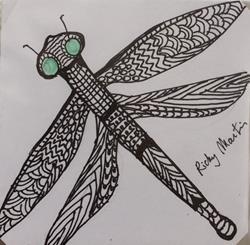 Art: Dragonfly - Zentangle Inspired by Artist Ulrike 'Ricky' Martin