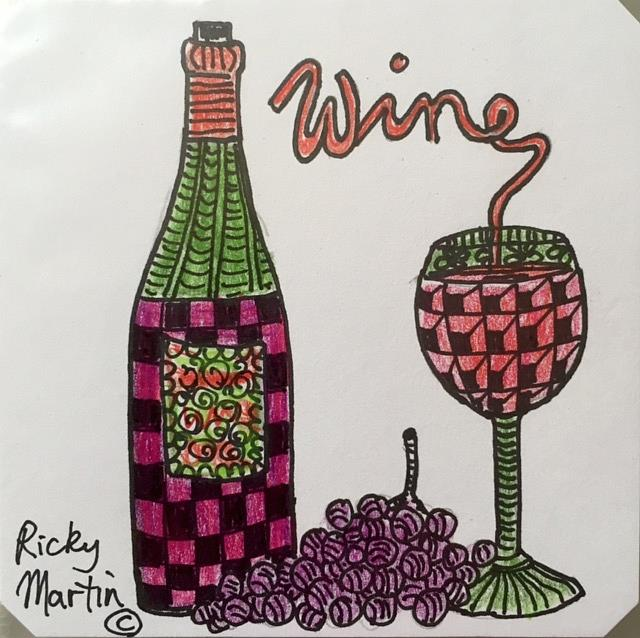 Art: Wine - Zentangle Inspired by Artist Ulrike 'Ricky' Martin