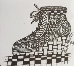 Art: Shoe - Zentangle Inspired by Artist Ulrike 'Ricky' Martin