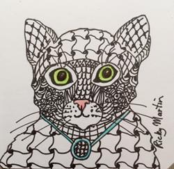 Art: Cat - Zentangle Inspired by Artist Ulrike 'Ricky' Martin