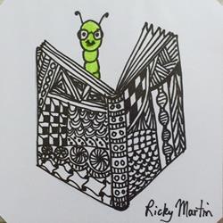 Art: Book Worm - Zentangle Inspired by Artist Ulrike 'Ricky' Martin