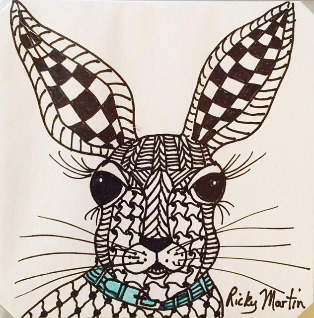 Art: Bunny - Zentangle Inspired by Artist Ulrike 'Ricky' Martin