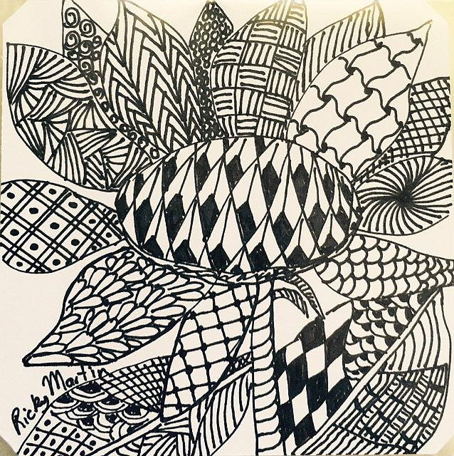 Art: Sun Flower - Zentangle Inspired by Artist Ulrike 'Ricky' Martin