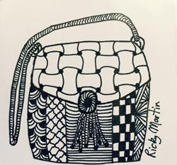 Art: Hand Bag - Zentangle Inspired by Artist Ulrike 'Ricky' Martin