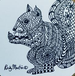 Art: Squirrel - Zentangle Inspired by Artist Ulrike 'Ricky' Martin