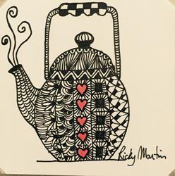 Art: Kettle - Zentangle Inspired by Artist Ulrike 'Ricky' Martin