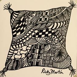 Art: Cushion - Zentangle Inspired by Artist Ulrike 'Ricky' Martin