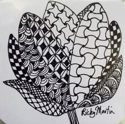 Art: Flower - Zentangle Inspired by Artist Ulrike 'Ricky' Martin