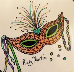 Art: Carnivale Mask - Zentangle Inspired by Artist Ulrike 'Ricky' Martin