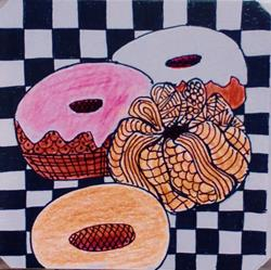 Art: Donuts - Zentangle Inspired by Artist Ulrike 'Ricky' Martin