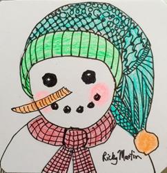 Art: Snowman - Zentangle Inspired by Artist Ulrike 'Ricky' Martin