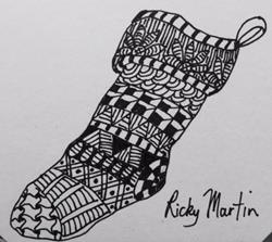 Art: X-mas stocking - Zentangle Inspired by Artist Ulrike 'Ricky' Martin