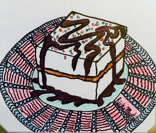 Art: Cake -  Zentangle Inspired by Artist Ulrike 'Ricky' Martin