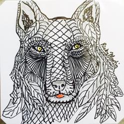 Art: Wolf - Zentangle Inspired by Artist Ulrike 'Ricky' Martin