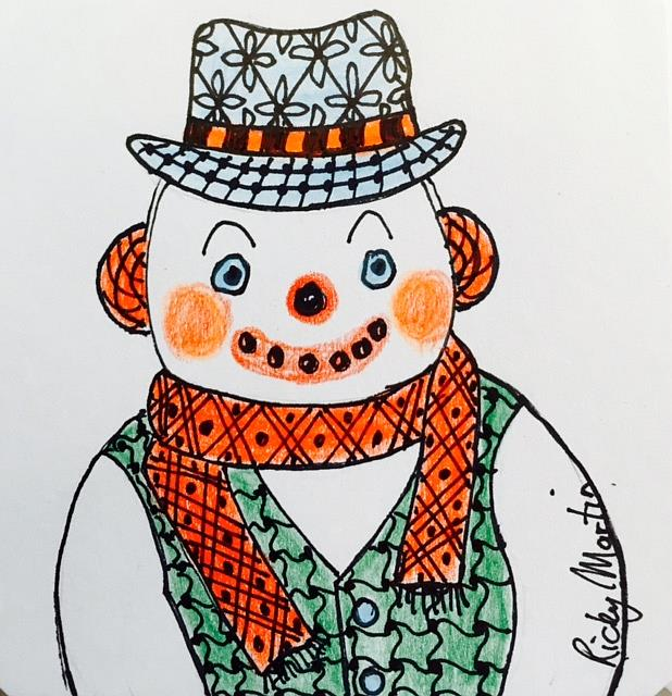 Art: Zentangle Inspired Snowman by Artist Ulrike 'Ricky' Martin