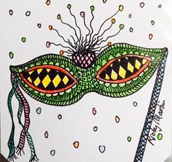 Art: Mask - Zentangle Inspired by Artist Ulrike 'Ricky' Martin
