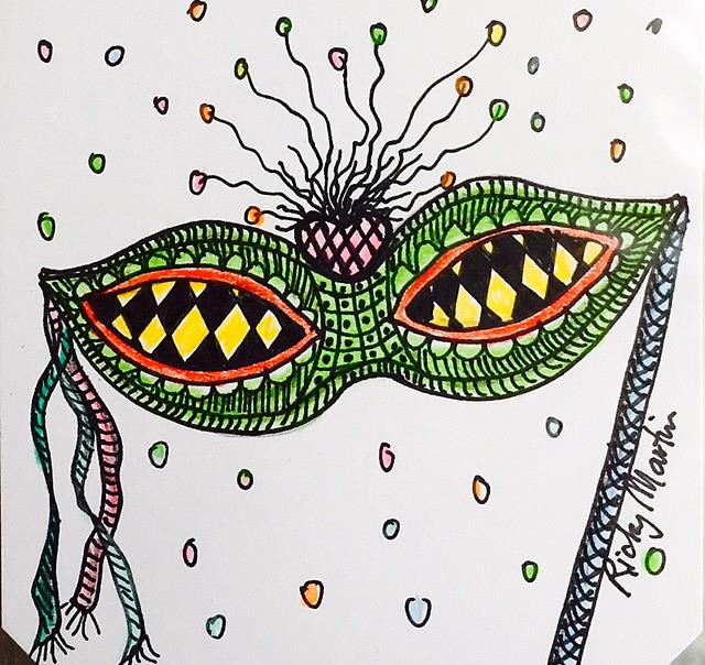 Art: Mask - Zentangle Inspired by Artist Ulrike 'Ricky' Martin