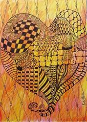 Art: Heart to Heart - Zentangle Inspired by Artist Ulrike 'Ricky' Martin