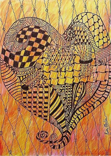 Art: Heart to Heart - Zentangle Inspired by Artist Ulrike 'Ricky' Martin