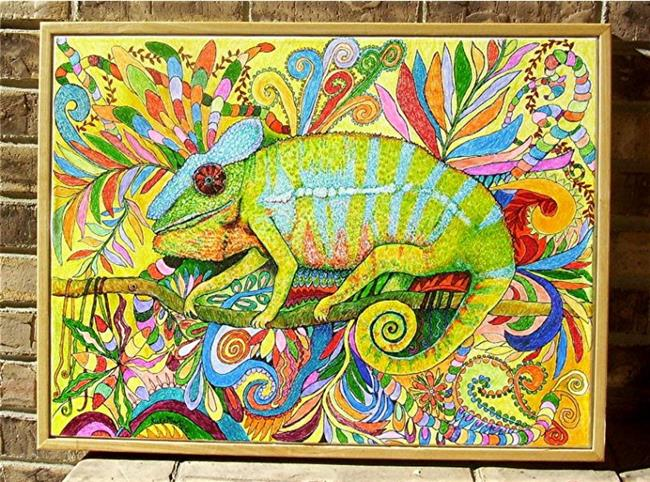 Art: Zentangle Inspired Art  - Panther Chameleon by Artist Ulrike 'Ricky' Martin