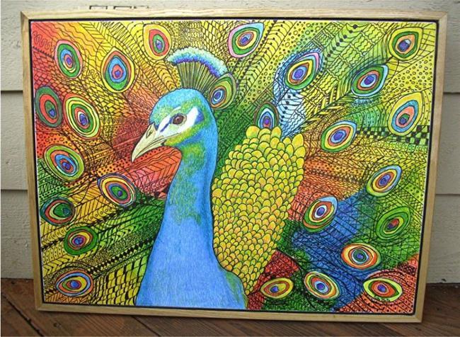 Art: Zentangle Inspired Art - Vibrant Peacock by Artist Ulrike 'Ricky' Martin