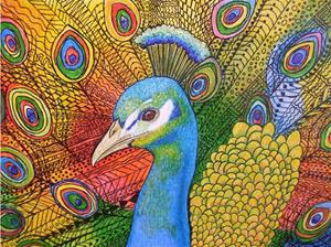 Detail Image for art Zentangle Inspired Art - Vibrant Peacock