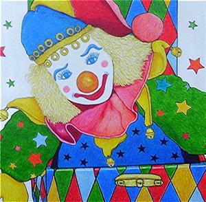 Detail Image for art Harlequin in a Box - available in my etsy store