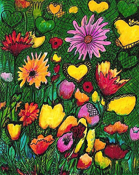 Art: Flowers and Hearts by Artist Ulrike 'Ricky' Martin