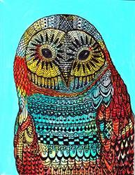 Art: Zentangle Inspired Owl  (sold) by Artist Ulrike 'Ricky' Martin
