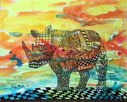 Art: Zentangle Inspired Abstract Rhino by Artist Ulrike 'Ricky' Martin
